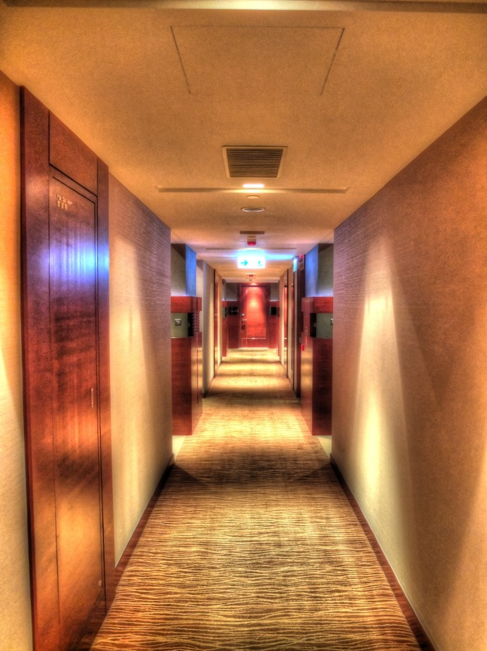 Hallway at the Hyatt (my suite is the door at the end)