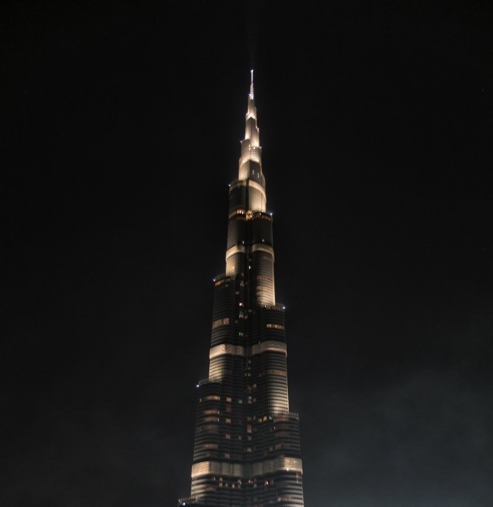 The Burj Khalifa at night